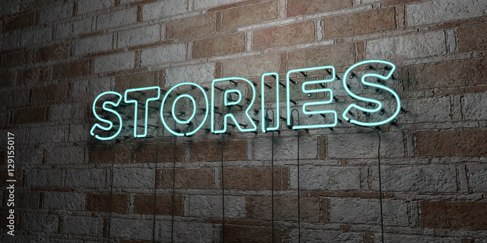 Fototapety, obrazy: STORIES - Glowing Neon Sign on stonework wall - 3D rendered royalty free stock illustration.  Can be used for online banner ads and direct mailers..
