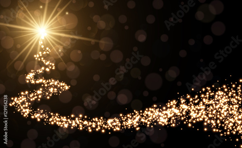 Fotografia, Obraz  Golden background with Christmas tree.