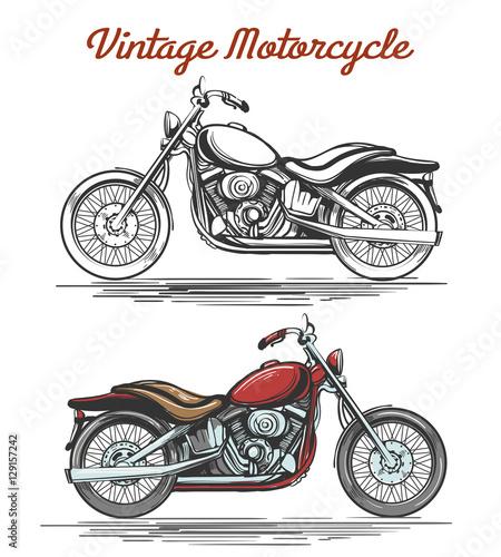 Vintage motorcycle hand-drawn illustration Wallpaper Mural