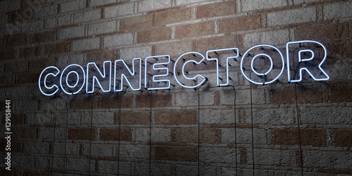 Photo  CONNECTOR - Glowing Neon Sign on stonework wall - 3D rendered royalty free stock illustration