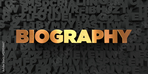Biography - Gold text on black background - 3D rendered royalty free stock picture Canvas Print