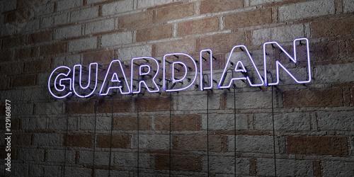 Fotografija GUARDIAN - Glowing Neon Sign on stonework wall - 3D rendered royalty free stock illustration