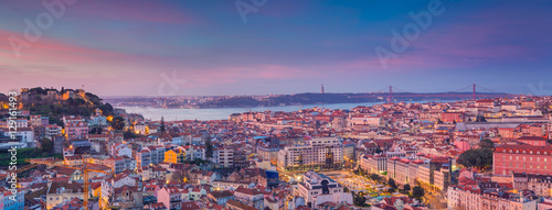 Lisbon Panorama Sunrise. Image of Lisbon, Portugal during dramatic sunrise.