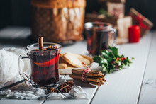 Mulled Wine Glass With Orange, Cinnamon And Star Anise