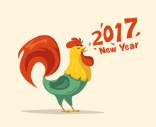 New Year Symbol. Fire Rooster....