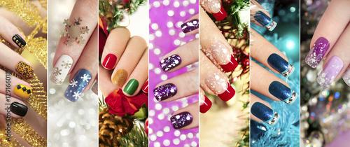 Canvas Print Разноцветный  новогодний маникюр с зимним дизайном  ногтей с блёстками,стразами на коротких и длинных женских ногтях