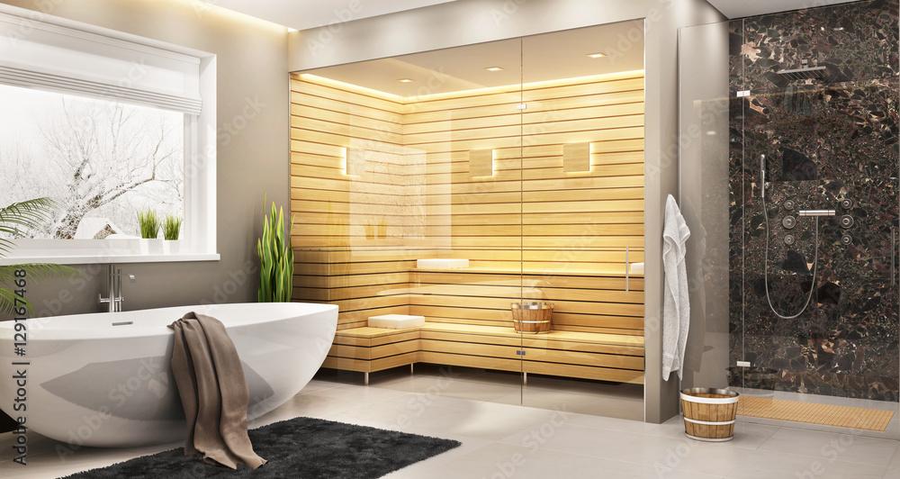 Fototapeta Sauna in house