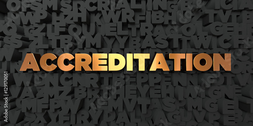 Photo Accreditation - Gold text on black background - 3D rendered royalty free stock picture