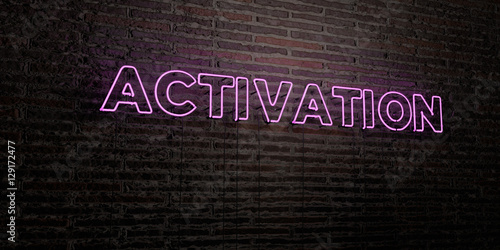 ACTIVATION -Realistic Neon Sign on Brick Wall background - 3D rendered royalty free stock image Wallpaper Mural
