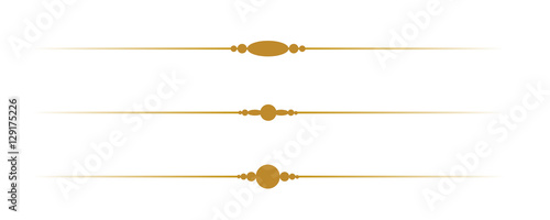 Simple Decorative Gold Borders on White Background Fototapete