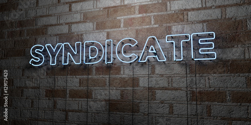 SYNDICATE - Glowing Neon Sign on stonework wall - 3D rendered royalty free stock illustration Wallpaper Mural
