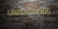 LIMITATION - Glowing Neon Sign On Stonework Wall - 3D Rendered Royalty Free Stock Illustration.  Can Be Used For Online Banner Ads And Direct Mailers..