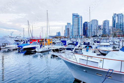 Plakát  Moored yachts and marina at Coal Harbour in Vancouver, Canada