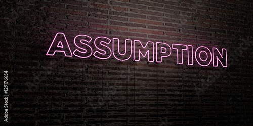 Photo ASSUMPTION -Realistic Neon Sign on Brick Wall background - 3D rendered royalty free stock image
