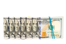 Packs Of Hundred Dollar Bills Grouped, Isolated Copyspace