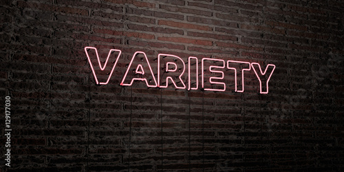Pinturas sobre lienzo  VARIETY -Realistic Neon Sign on Brick Wall background - 3D rendered royalty free stock image