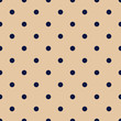 Vintage Tan Seamless Pattern with Navy Blue Polka Dots
