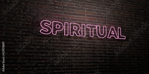 Fotografie, Obraz  SPIRITUAL -Realistic Neon Sign on Brick Wall background - 3D rendered royalty free stock image