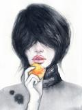 Portret kobiety. Ilustracja moda. Malarstwo akwarelowe - 129179221