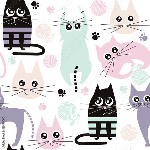 wzor-z-smiesznymi-kotami-tekstura-tkanina-dzieci-ilustracja-wektorowa
