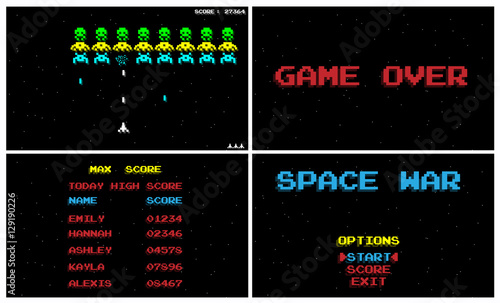 SPACE WAR GAME OLD STYLE RETRO VINTAGE Fototapeta