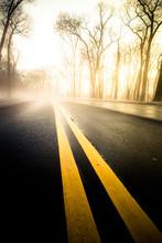 Yellow Dividing Lines On Asphalt Road Toward Bright Morning Light