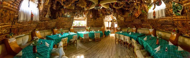 Fototapeta na wymiar Interior panorama restaurant
