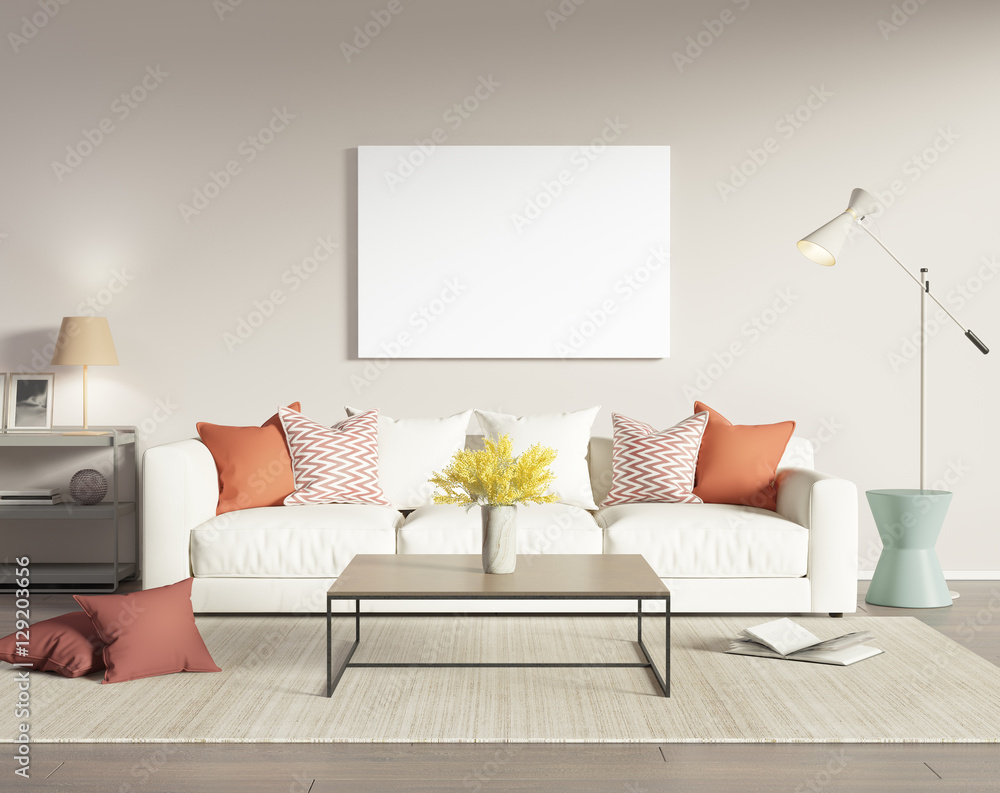 Fototapety, obrazy: Contemporary modern interior with white sofa