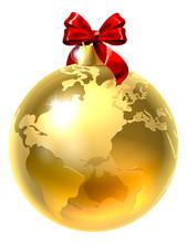 Christmas Bauble Bow Globe Wor...