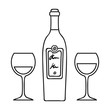 Bottle of red wine with glasses icon in outline style isolated on white background. Restaurant symbol stock vector illustration.