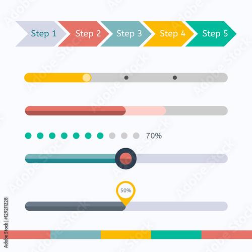 Flat web design progress bars set. Vector illustration Fotomurales