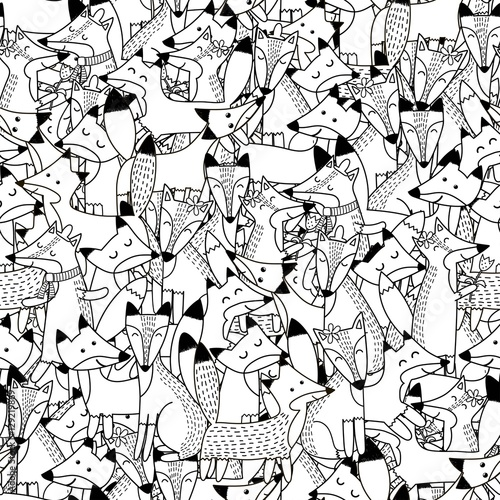 Cotton fabric Doodle foxes seamless pattern