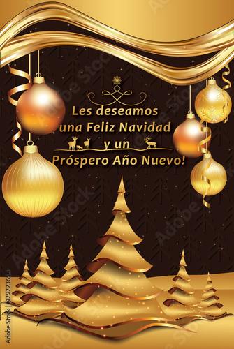 Spanish Greeting Card For New Year Les Deseamos Feliz Navidad Y Feliz Ano Nuevo We Wish