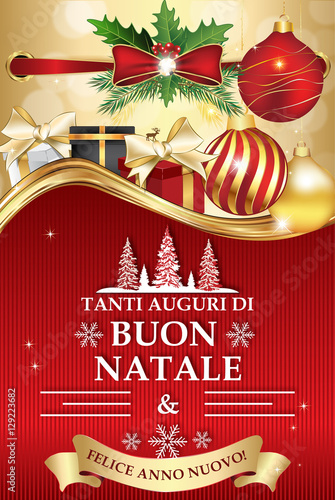 Auguri Di Buon Natale Merry Christmas.Italian Greeting Card For Winter Holiday Merry Christmas And Happy