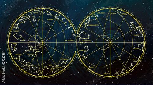 Zdjęcie XXL mapa nieba przedstawiająca konstelacje i znaki zodiaku.