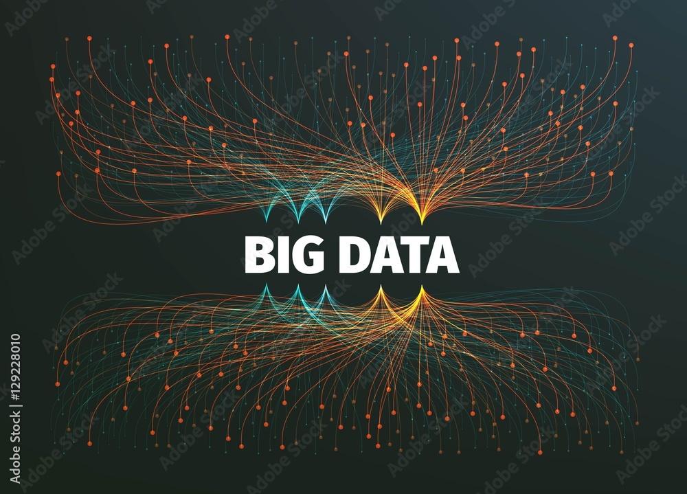 Fototapety, obrazy: big data background vector illustration. Information streams. Future technology