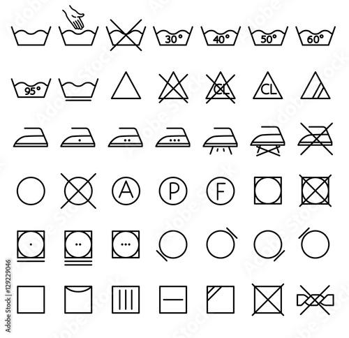 Garment Care Symbols Set The Symbols On The Labels Of Clothes
