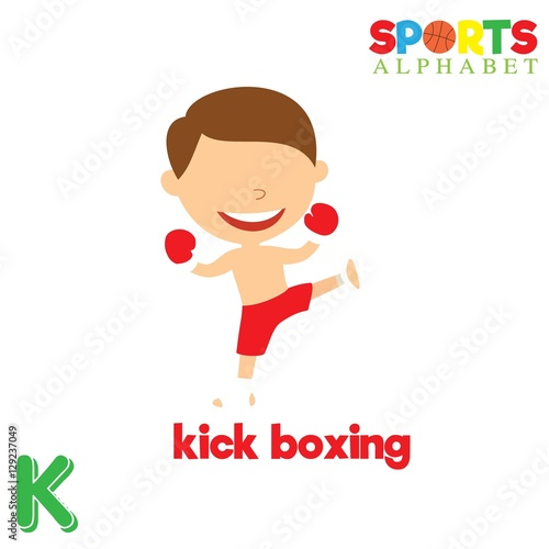 Cute Sports Alphabet In Vector K Letter For Kick Boxing Funny Cartoon