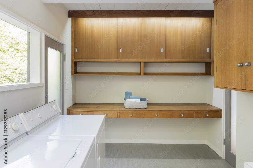 Wood Cabinets In Laundry Room Design Ideas Foto Poster