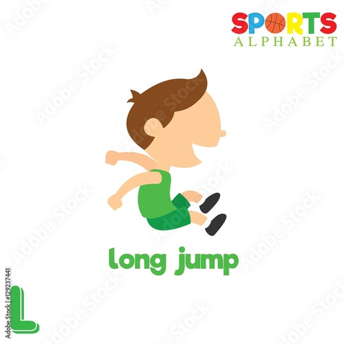 Cute Sports Alphabet In Vector L Letter For Long Jump Funny