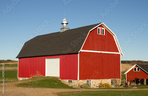 Fotografie, Obraz  Red barn and horse shed