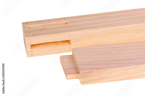 Obraz na plátne Close-up of boards with a woodworking mortises and a tenon isola
