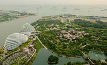 Bird Eye Of Landscape From Garden By The Bay In Marina Bay Sand