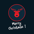 red christmas icon. deer head
