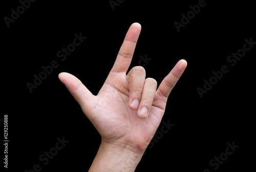The Mens Hands Make A Hand Symbol I Love You On Black Background