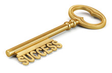Golden Key To Success Isolated On White Background. 3d Render Il