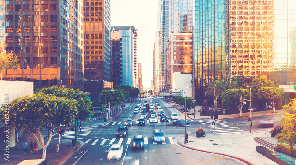 Fototapeta View of Los Angeles rush hour traffic