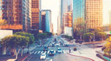 Fototapeta Miasto - View of Los Angeles rush hour traffic