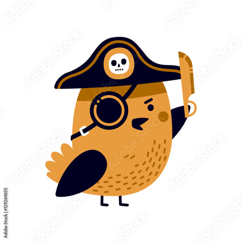 Valokuvatapetti Illustration of adorable pirate bird with captain's hat, eye patch and sharp blade
