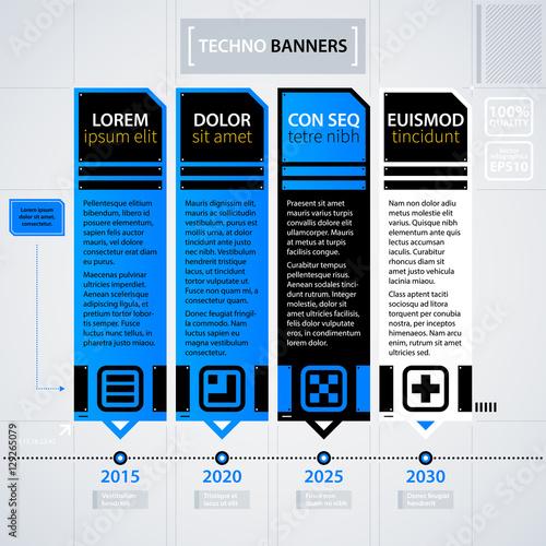 Modern timeline template. Futuristic techno business style. Useful ...